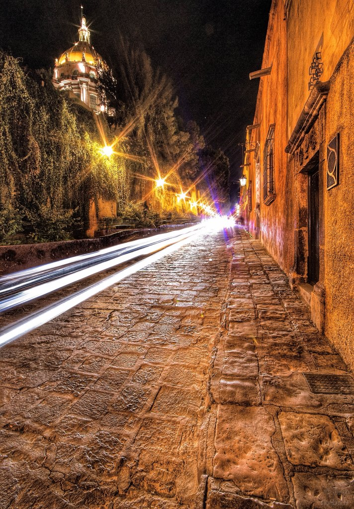 San Miguel de Allende, Mexico at Night | Light Trails | Image By Indiana Architectural Photographer Jason Humbracht