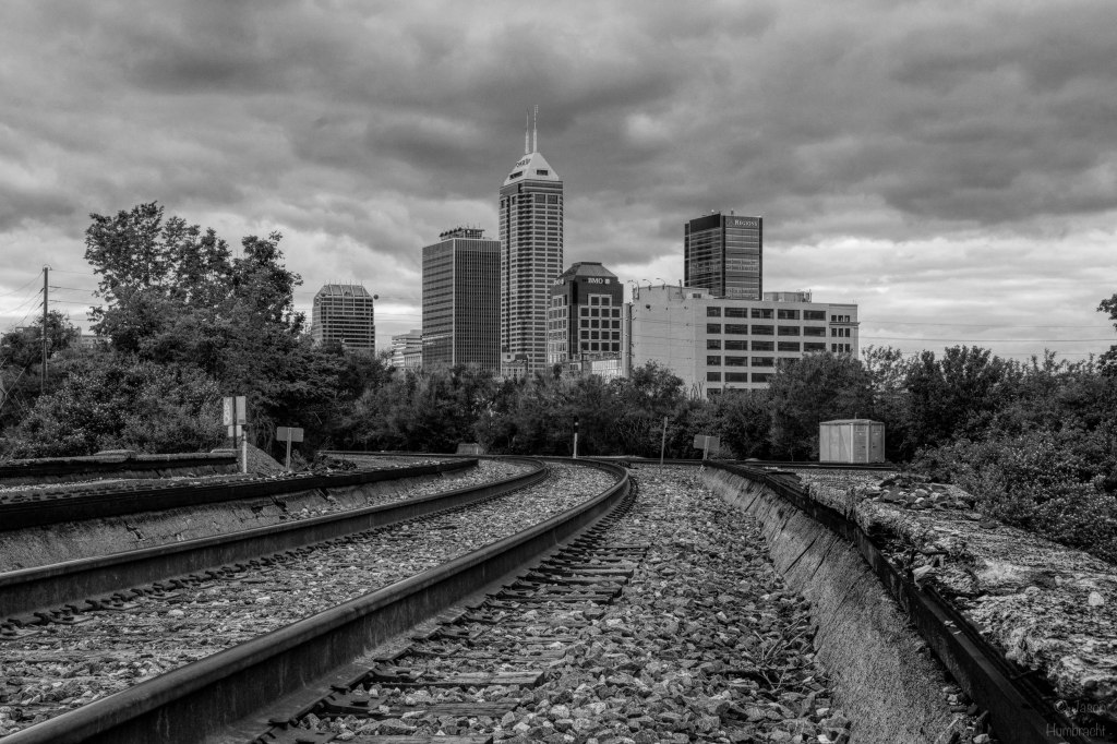 Train Tracks | Indianapolis Skyline | Black & White | Image By Indiana Architectural Photographer Jason Humbracht