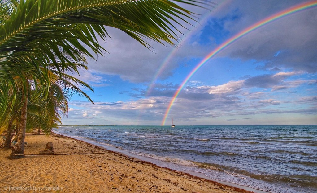 Double Rainbow Sunset in Hopkins, Belize photo taken by Indianapolis-based Commercial Real Estate Photographer Jason Humbracht in 2015