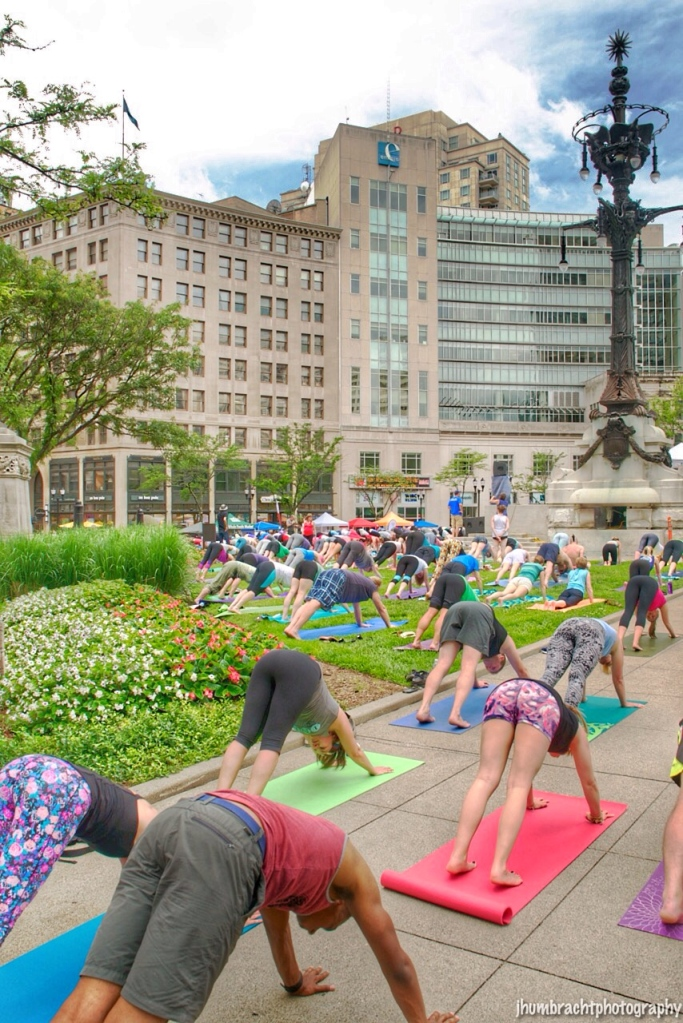 International Day of Yoga | Monument Circle | Indianapolis, Indiana | Image By Indiana Architectural Photographer Jason Humbracht