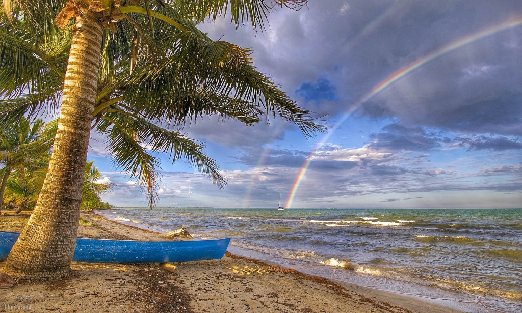 Double Rainbow | Sunset | Clouds | Hopkins Belize | Photo by Indianapolis-based Architectural Photographer Jason Humbracht in 2015