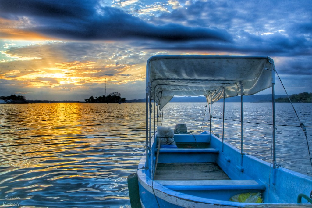 Boat Taxi Sunset | Flores, Guatemala | Image by Indiana Architectural Photographer Jason Humbracht