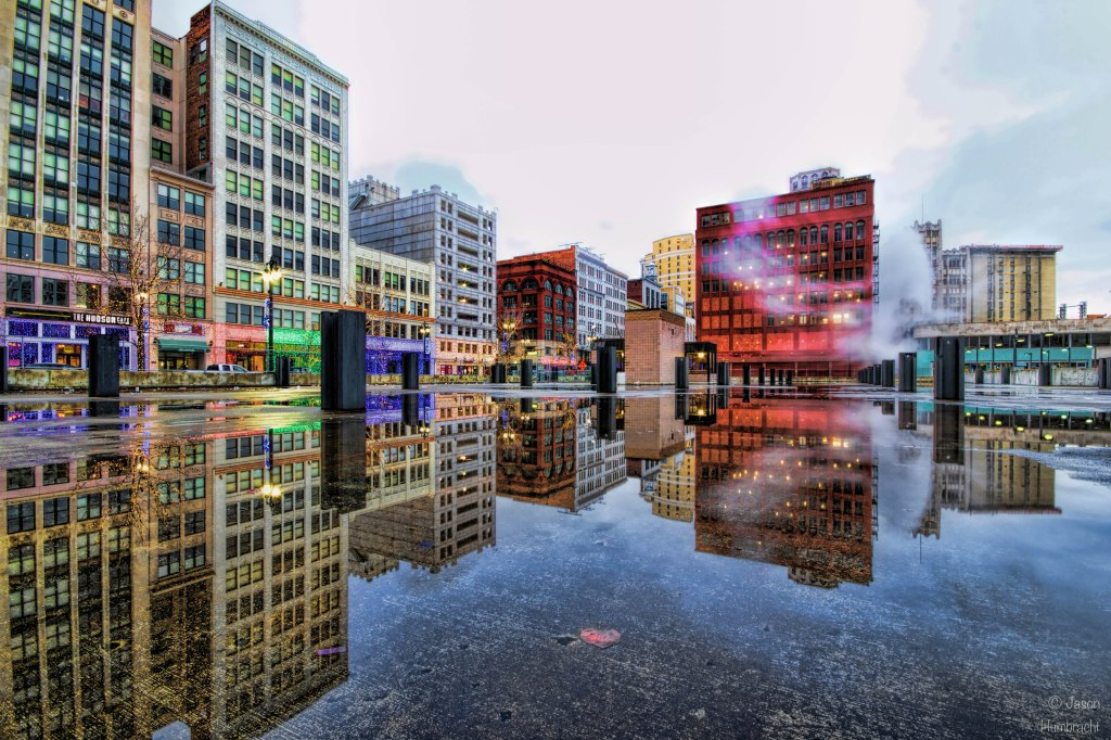 Detroit Michigan | Winter Reflections | Image taken by Indiana Architectural Photographer Jason Humbracht | 2015