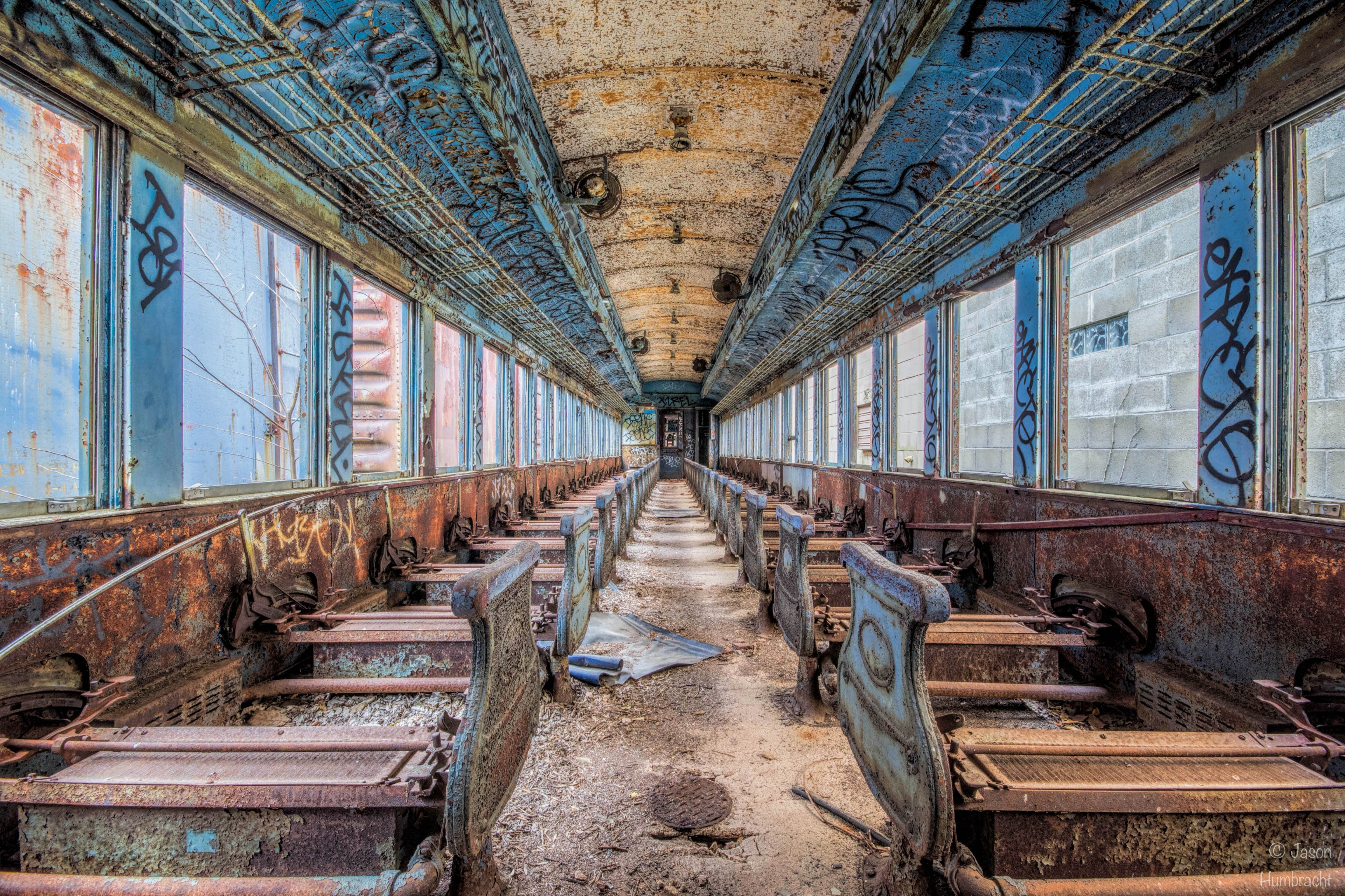 Abandoned Passenger Train In The Indiana Countryside