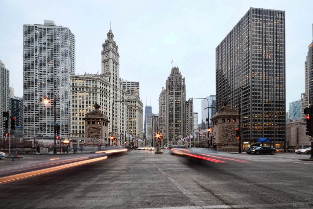 Chicago Traffic | Chicago Architecture | Light Trails | Michigan Ave | Skyscraper | Skyline | Image By Indiana Architectural Photographer Jason Humbracht