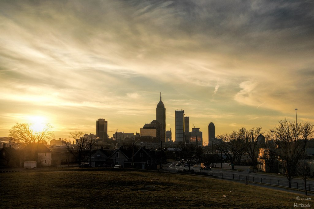 Sunset | Indianapolis Skyline | Image by Indiana Architectural Photographer Jason Humbracht in 2016