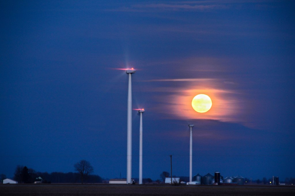 Wind Turbine | Night Photography | Moon | Indiana Countryside | Image by Indiana Architectural Photographer Jason Humbracht in 2016