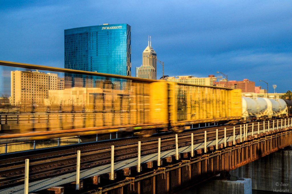 Indianapolis Skyline | Train | Downtown Indianapolis | Image By Indiana Architectural Photographer Jason Humbracht