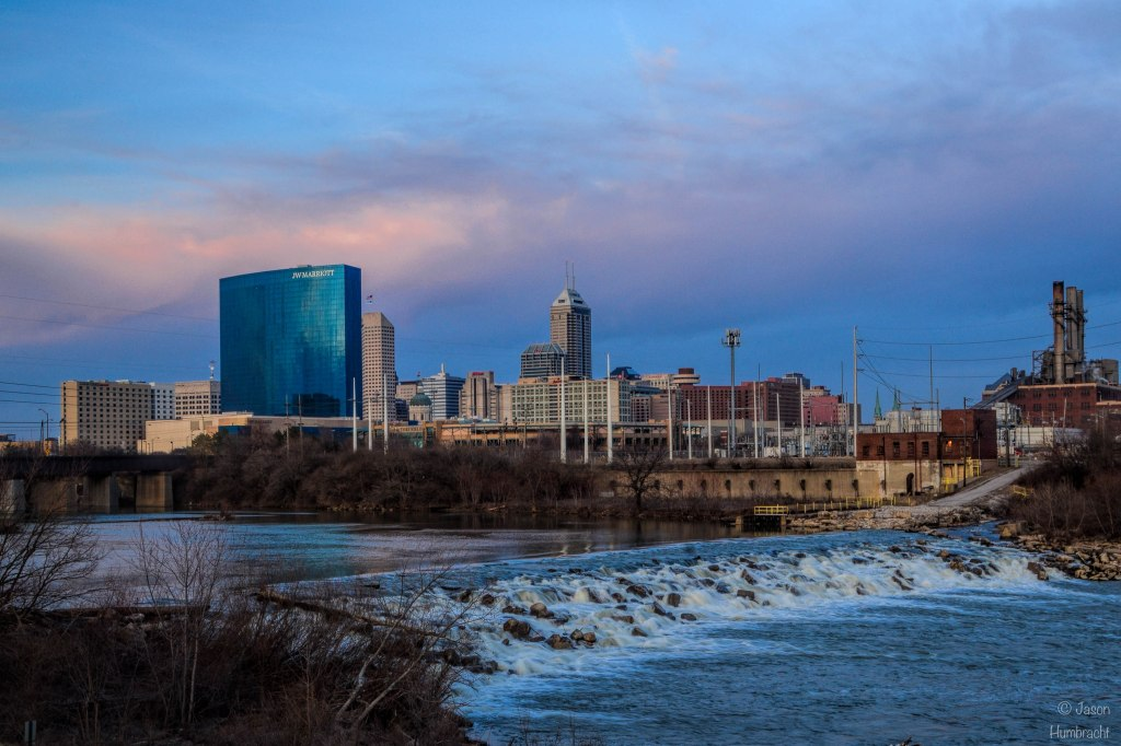 Sunset Indianapolis Skyline | White River | Indiana Architecture | Downtown Indianapolis | Image By Indiana Architectural Photographer Jason Humbracht