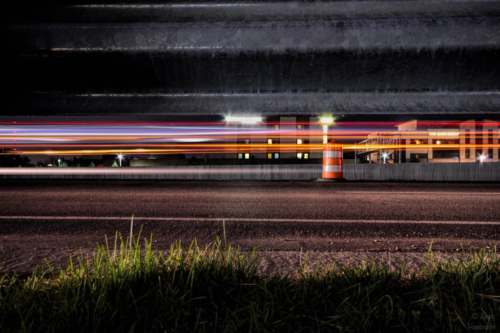 Indianapolis at Night | Highway Light Trails | Image By Indiana Architectural Photographer Jason Humbracht
