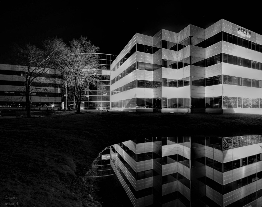 Indianapolis at Night | Indiana Architecture | Black & White | Carmel Indiana | Image By Indiana Architectural Photographer Jason Humbracht