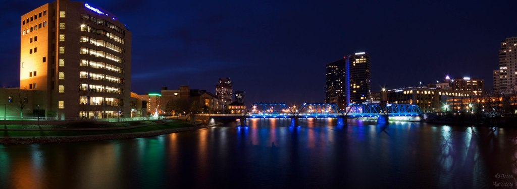 Grand Rapids, Michigan Skyline Panorama at Night |Grand Rapids Architecture | Grand River | Image By Indiana Architectural Photographer Jason Humbracht
