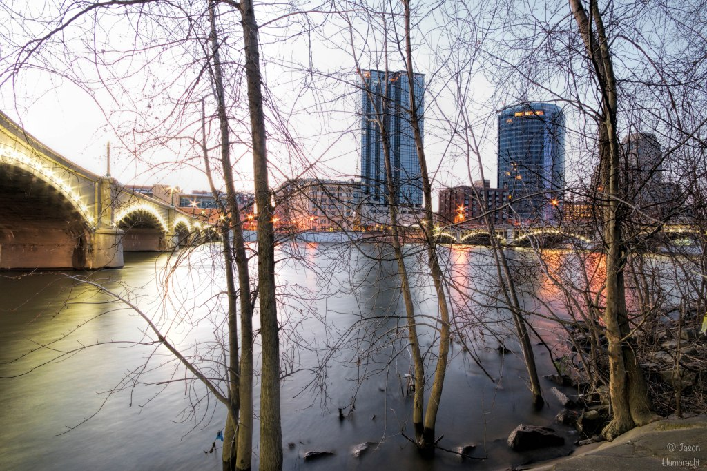 Grand Rapids Michigan Sunrise | Grand Rapids Skyline | The Grand River | Grand Rapids Architecture | Image By Indiana Architectural Photographer Jason Humbracht