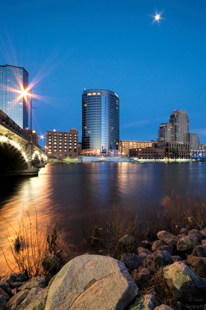 Grand Rapids Michigan | Grand Rapids Skyline | Grand Rapids at Night | Grand Rapids Architecture | Grand River | The Blue Hour | Image By Indiana Architectural Photographer Jason Humbracht
