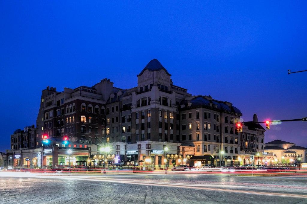 Carmel, Indiana at Night | Indiana Architecture | Light Trails | Image By Indiana Architectural Photographer Jason Humbracht