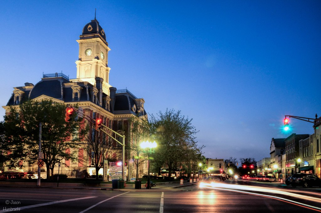 Noblesville Indiana | Courthouse Noblesville Indiana | Noblesville At Night | Indiana Architecture | Light Trails | Image By Indiana Architectural Photographer Jason Humbracht