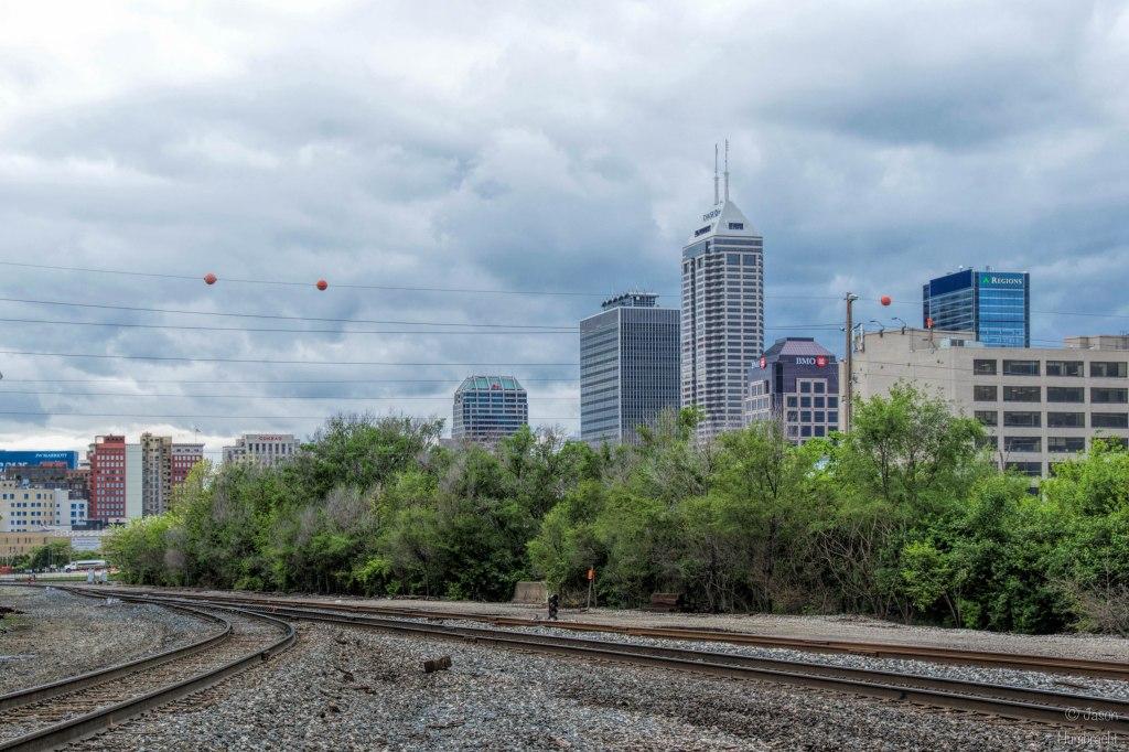 Train Tracks | Indianapolis Skyline | Image By Indiana Architectural Photographer Jason Humbracht