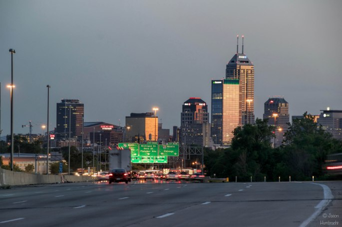 Indianapolis Skyline | Traffic | I-70 | Image By Indiana Architectural Photographer Jason Humbracht