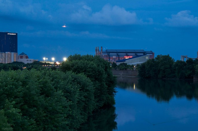 Indianapolis Night Skyline | Buck Moon | Full Moon | JW Marriott | Lucas Oil Stadium | White River| Image By Indiana Architectural Photographer Jason Humbracht